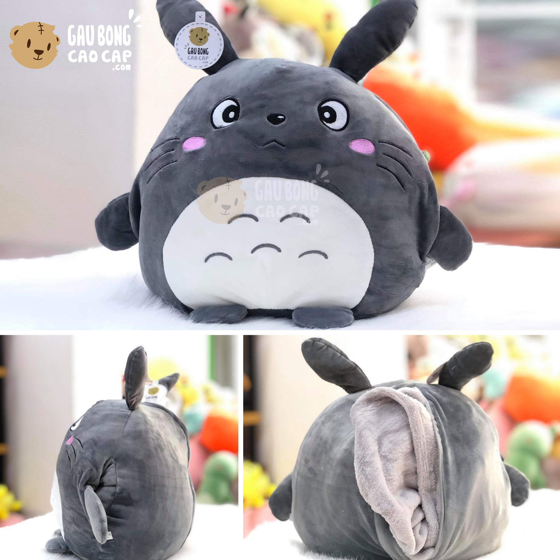Gối mền đút tay 2in1 Totoro màu Xám lông mịn