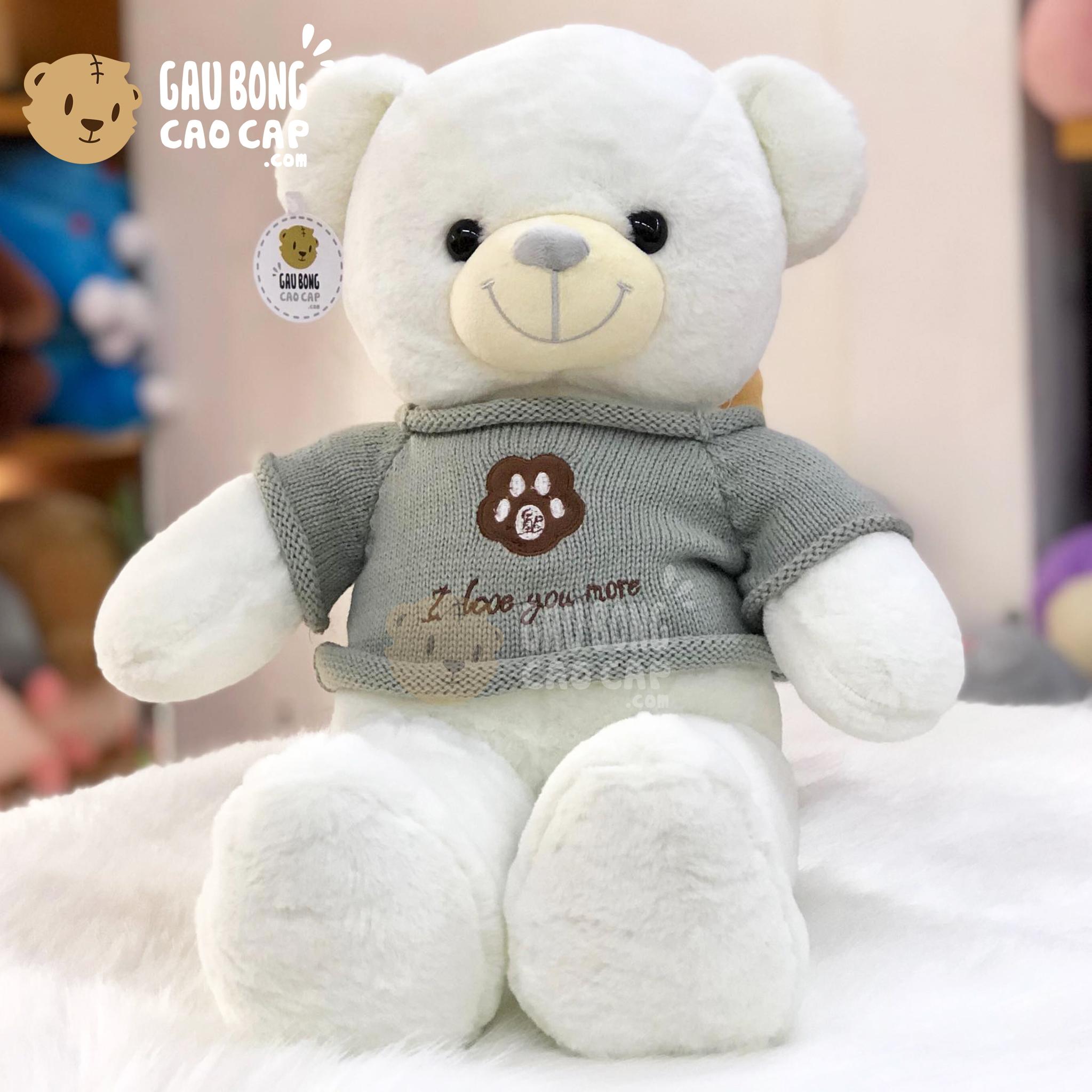 Gấu Teddy Smooth áo len thêu Chân Gấu I Love You More