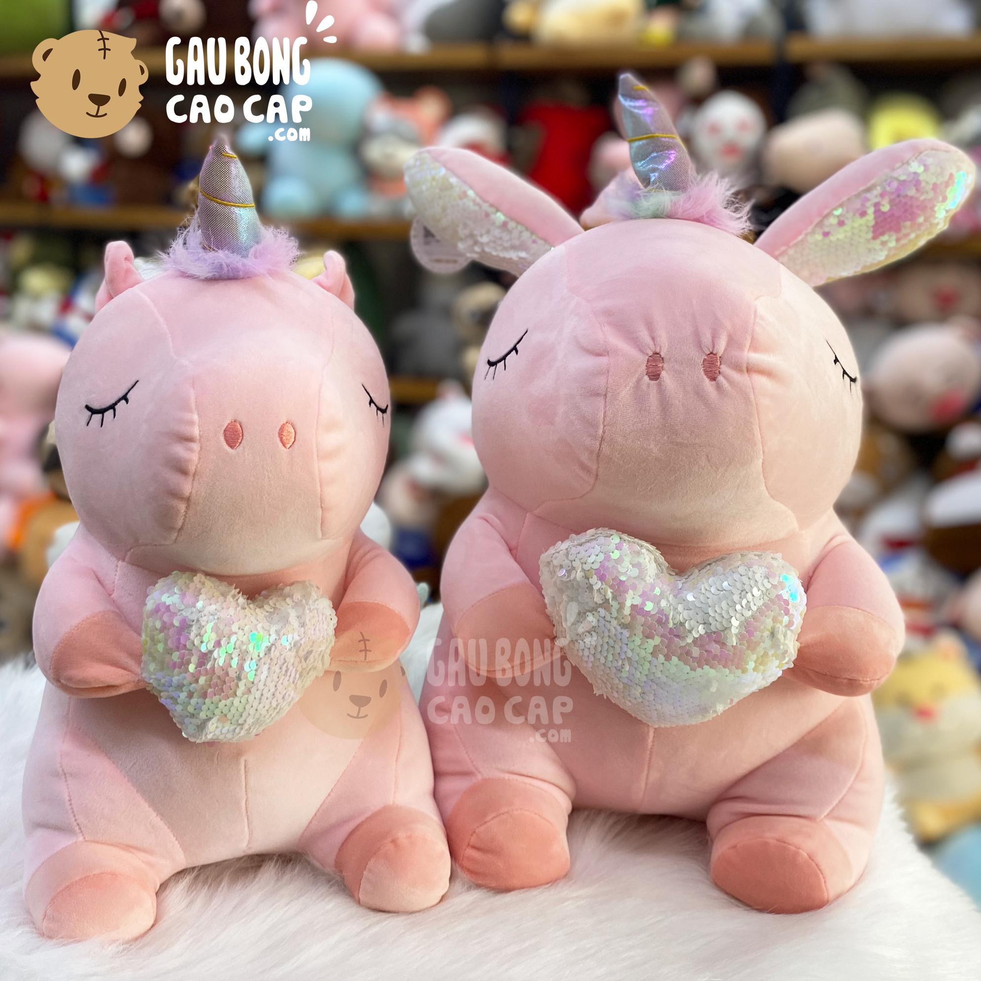 Gấu Bông Unicorn ôm tim lấp lánh
