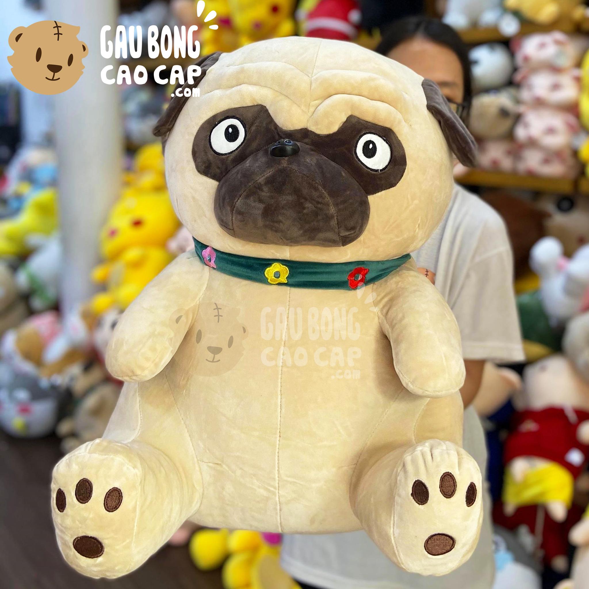 Chó Bông mặt xệ ngồi đeo khăn