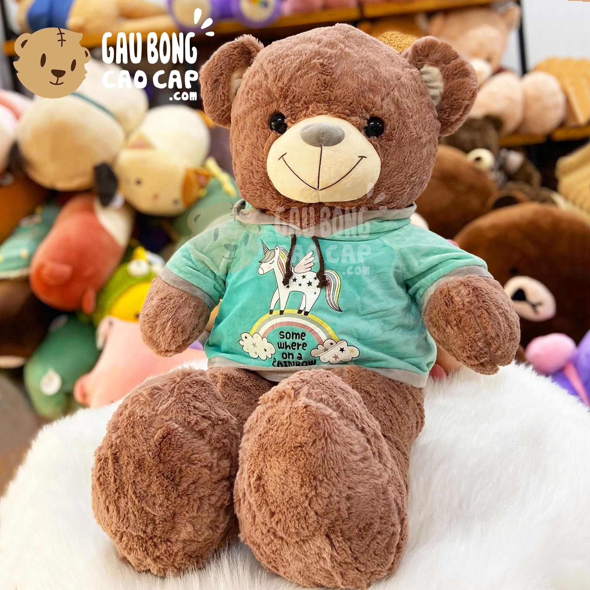 Gấu Teddy Smooth mặc áo Hoodie Unicorn Cầu Vồng