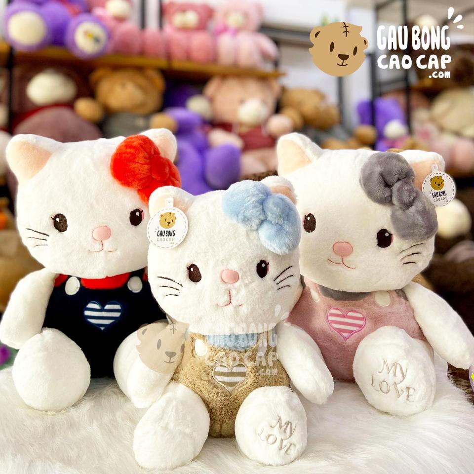 Mèo Bông Kitty Ngồi Lông Sợi Ngực Tim