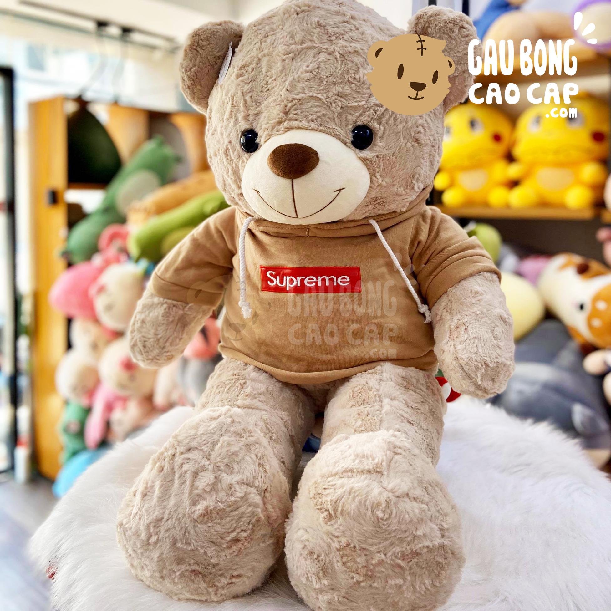 Gấu Teddy lông xoắn mặc áo Hoodie màu Nâu