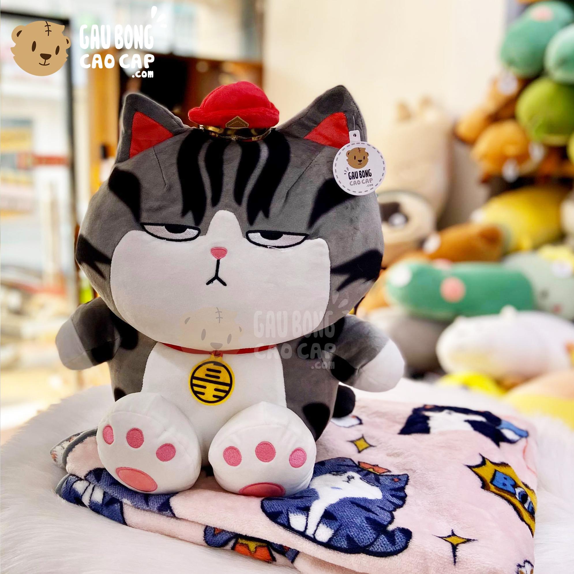 Gối mền 2in1 Mèo Bông Hoàng Thượng ngồi