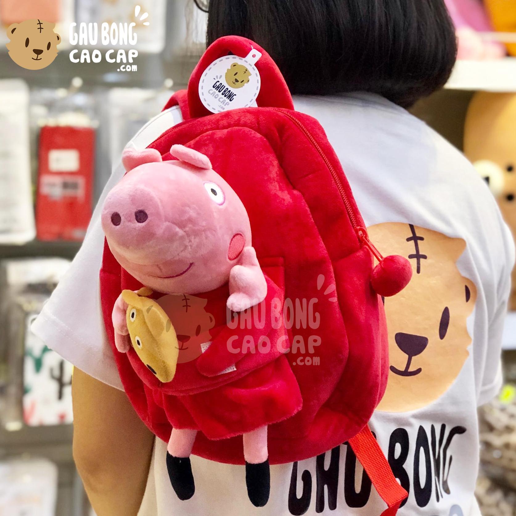 Balo Heo Peppa đỏ vải nhung mịn