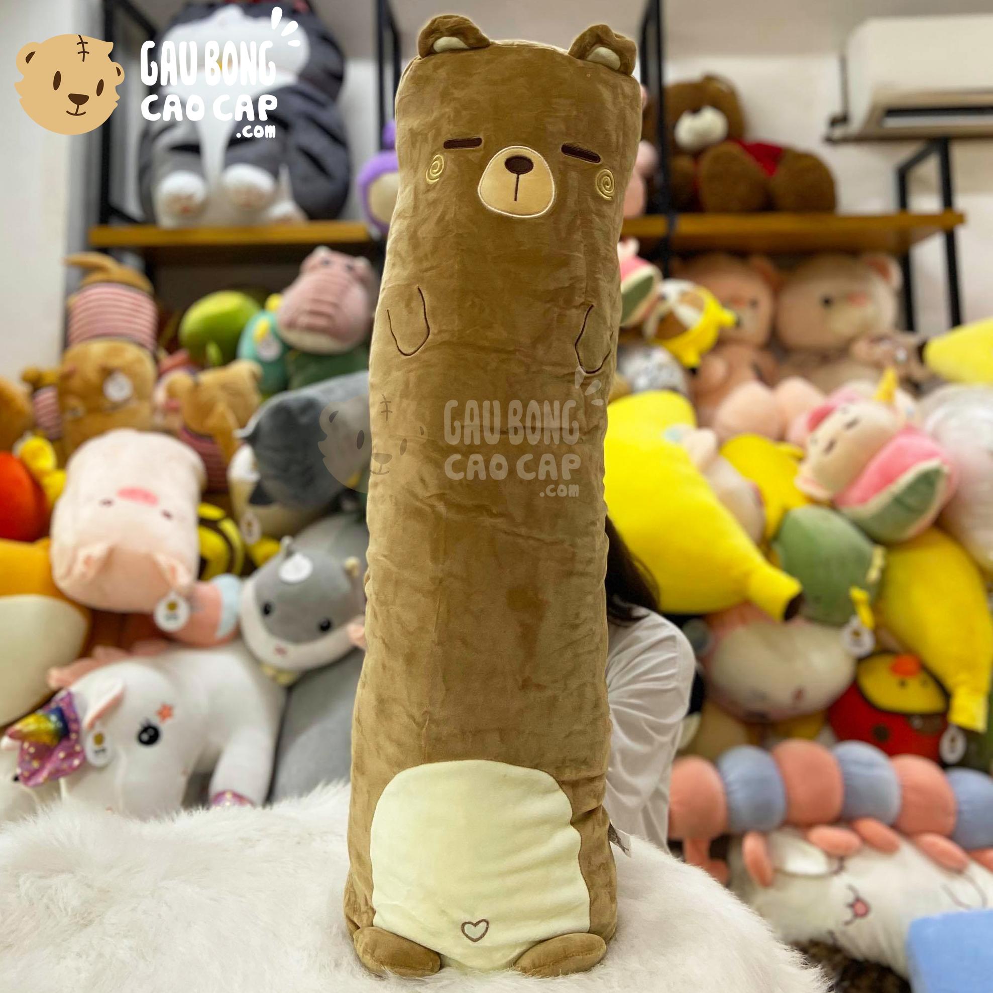 Gấu Nâu Bear gối ôm dài lông mịn