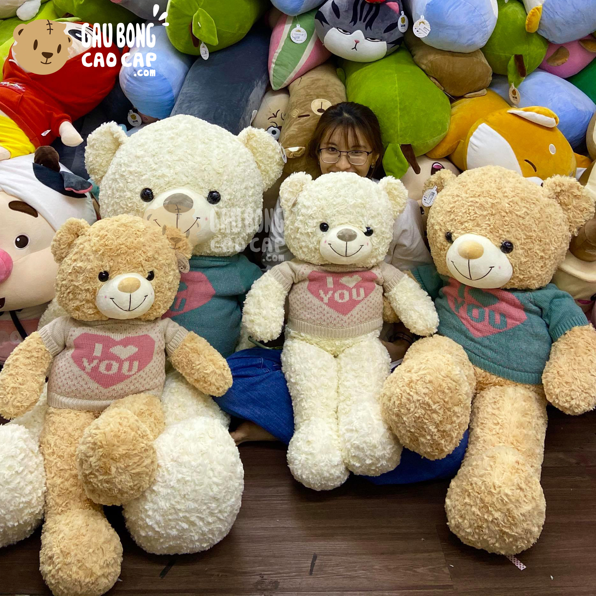 Gấu Teddy lông xoắn mặc áo len BigHeart