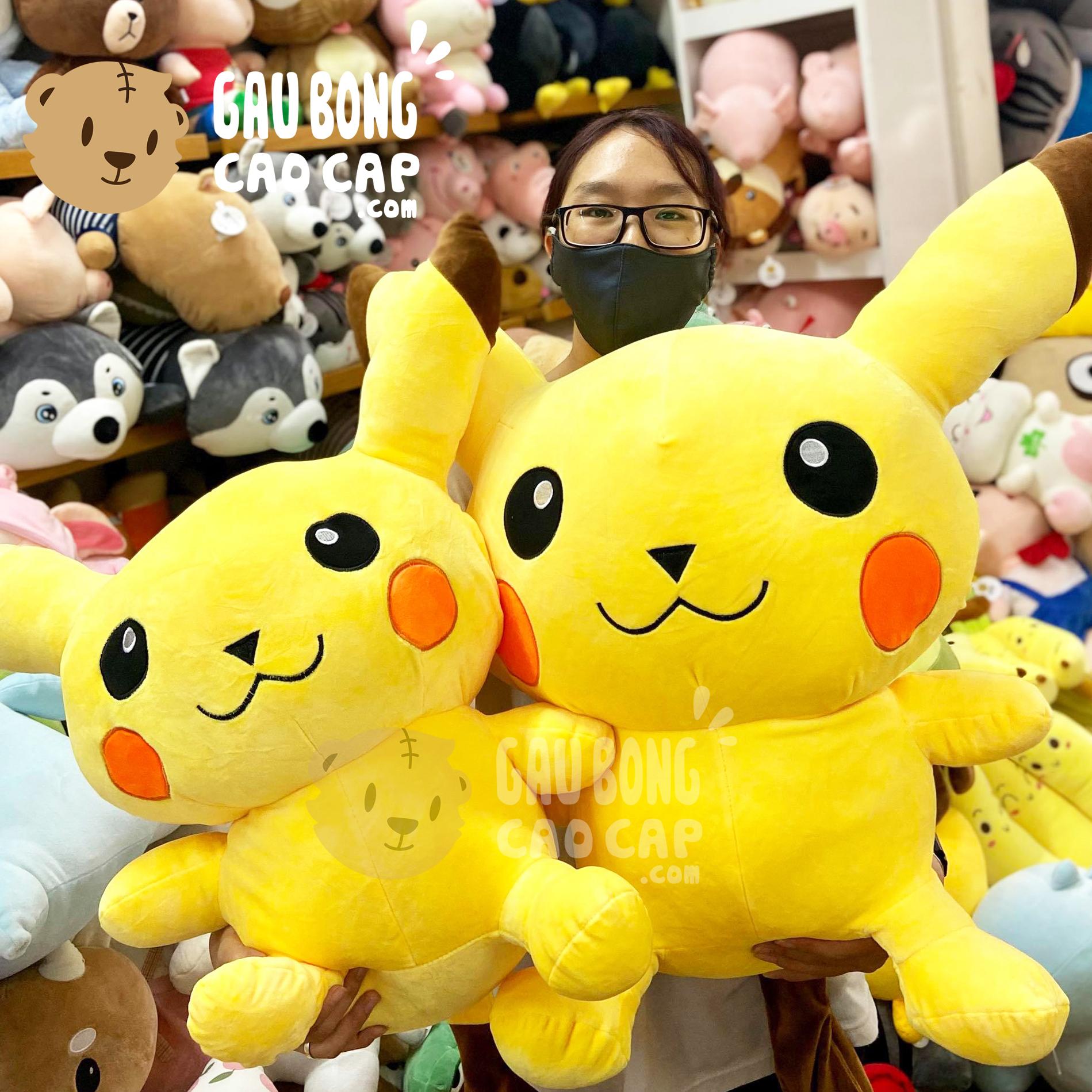 Gấu Bông Pikachu lông mịn ngồi đầu To