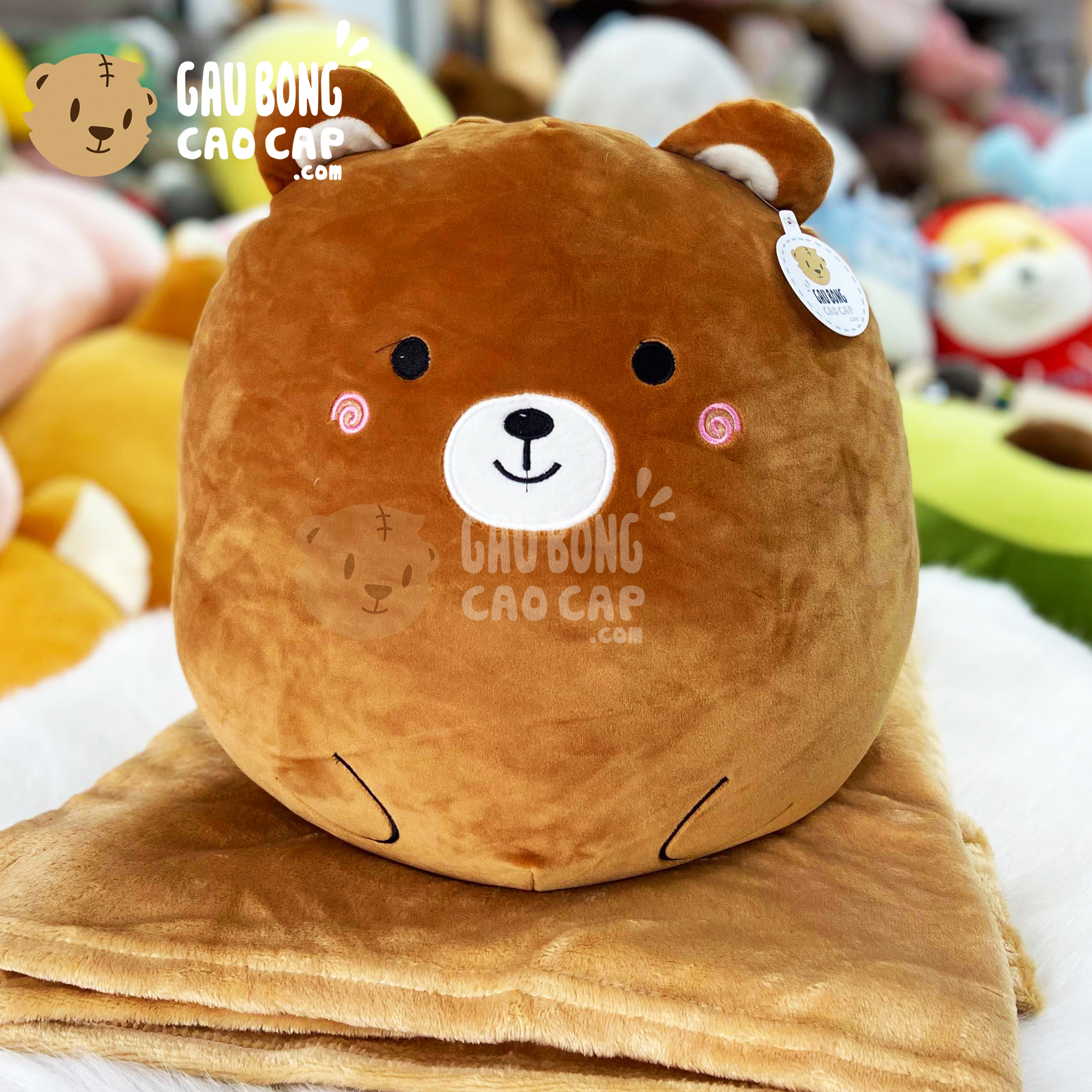 Gối mền Gấu Bear nâu mặt tròn