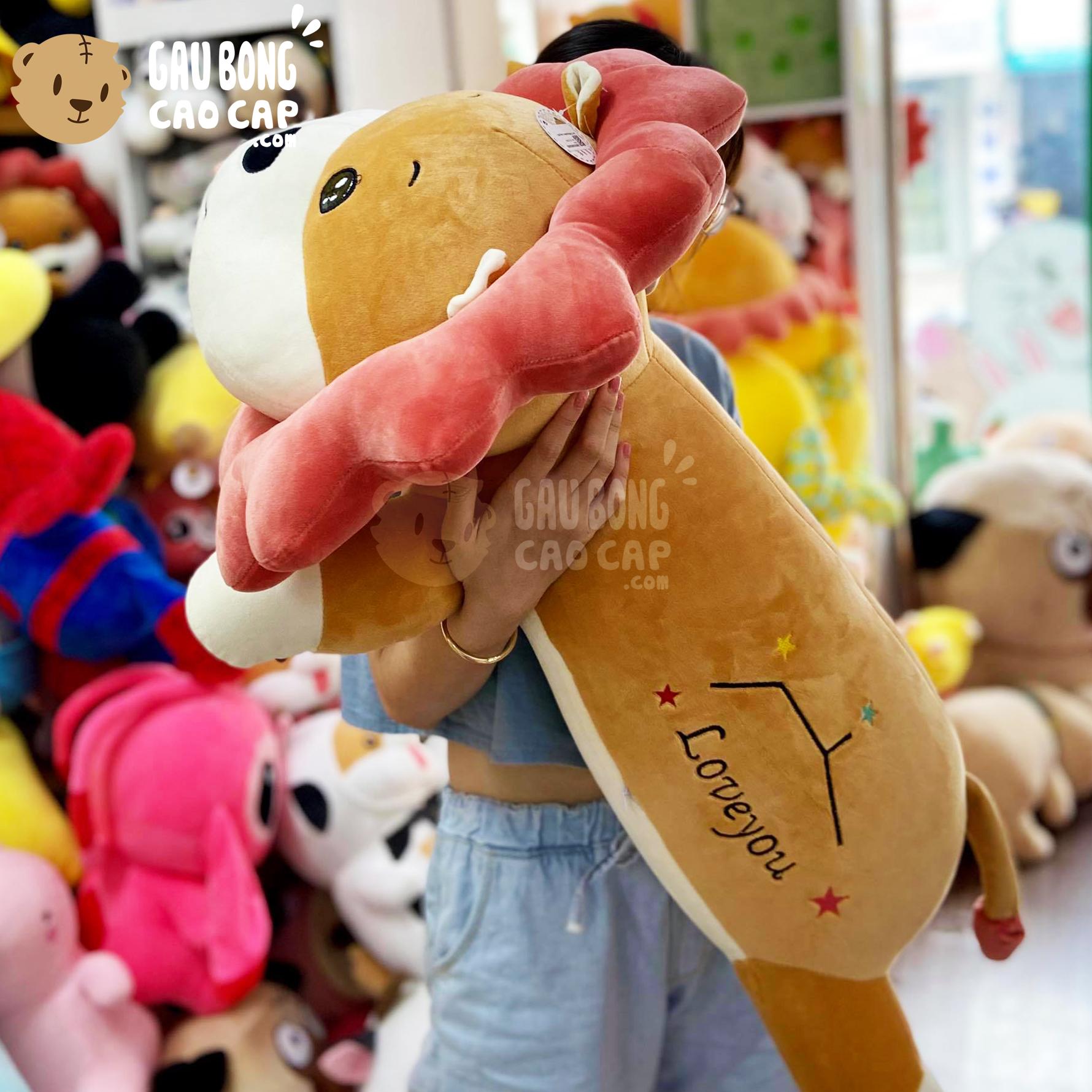 Gấu Bông Sư Tử nằm lông mịn gối ôm dài