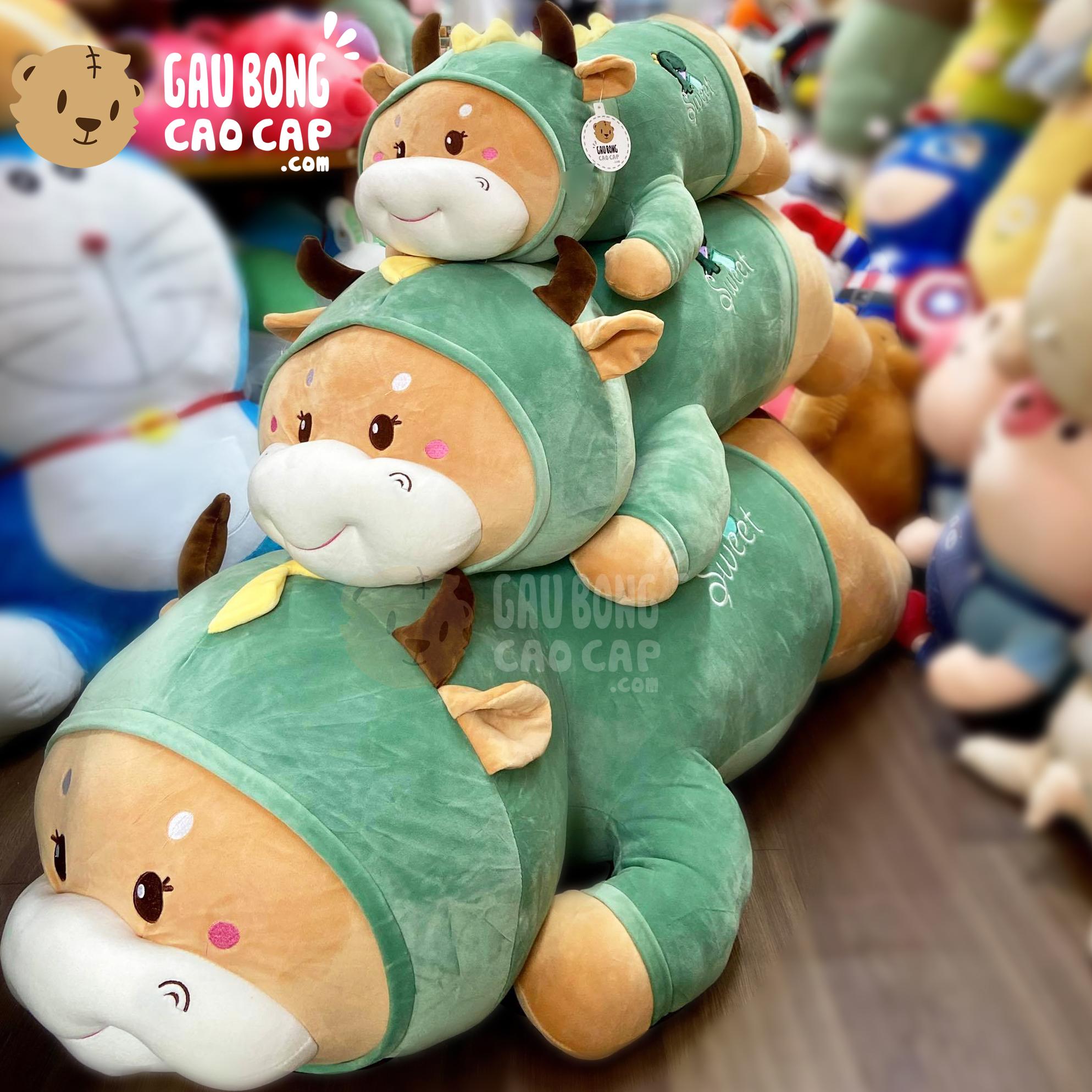 Gấu Bông Bò nằm cosplay Khủng Long xanh