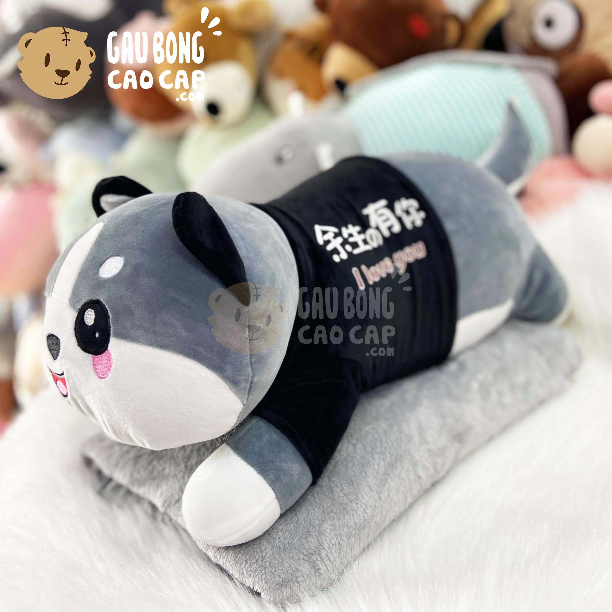 Gấu Bông có mền Chó Huksy Cute