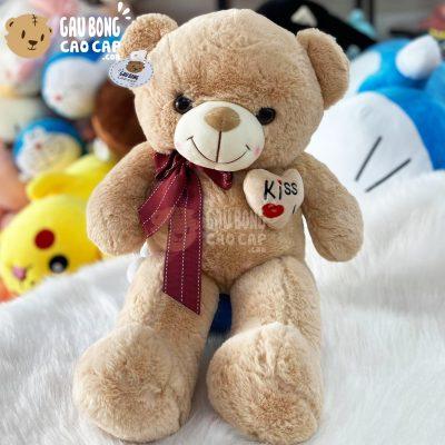 Gấu Teddy Nơ Sọc ngực Tim Kiss Me
