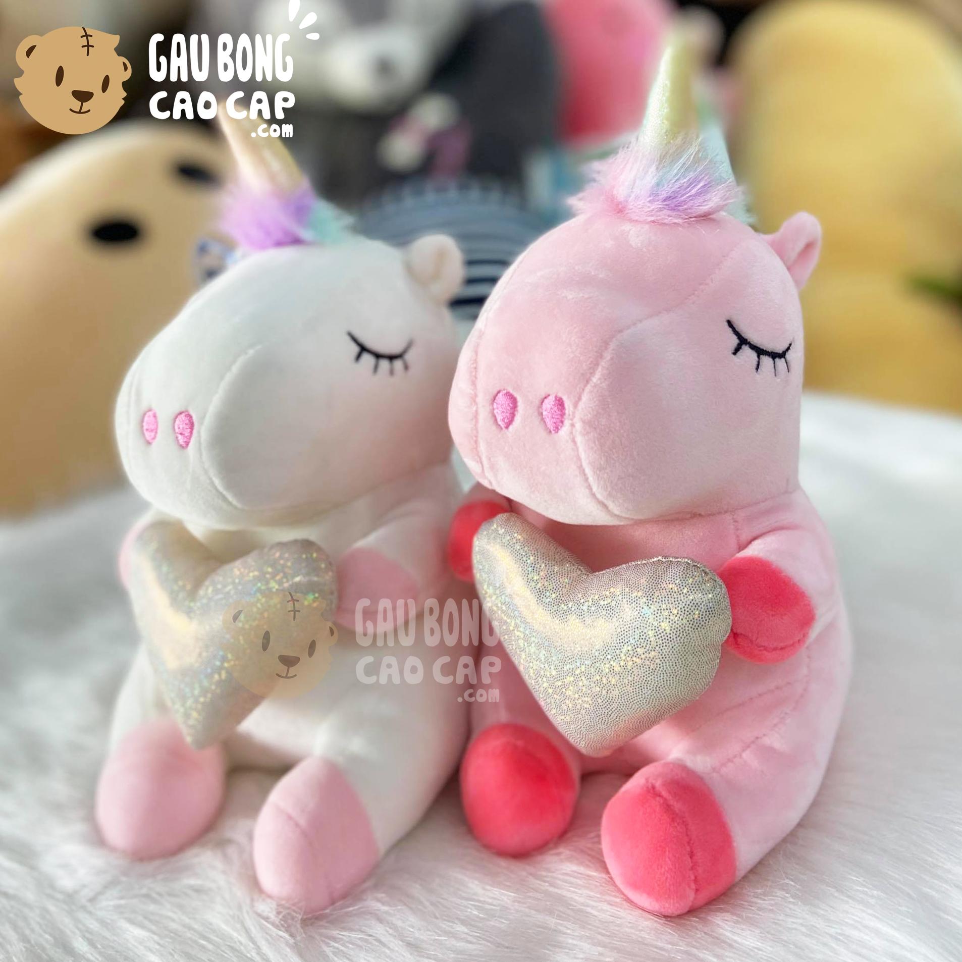 Gấu Bông Unicorn ôm tim lấp lánh nhí