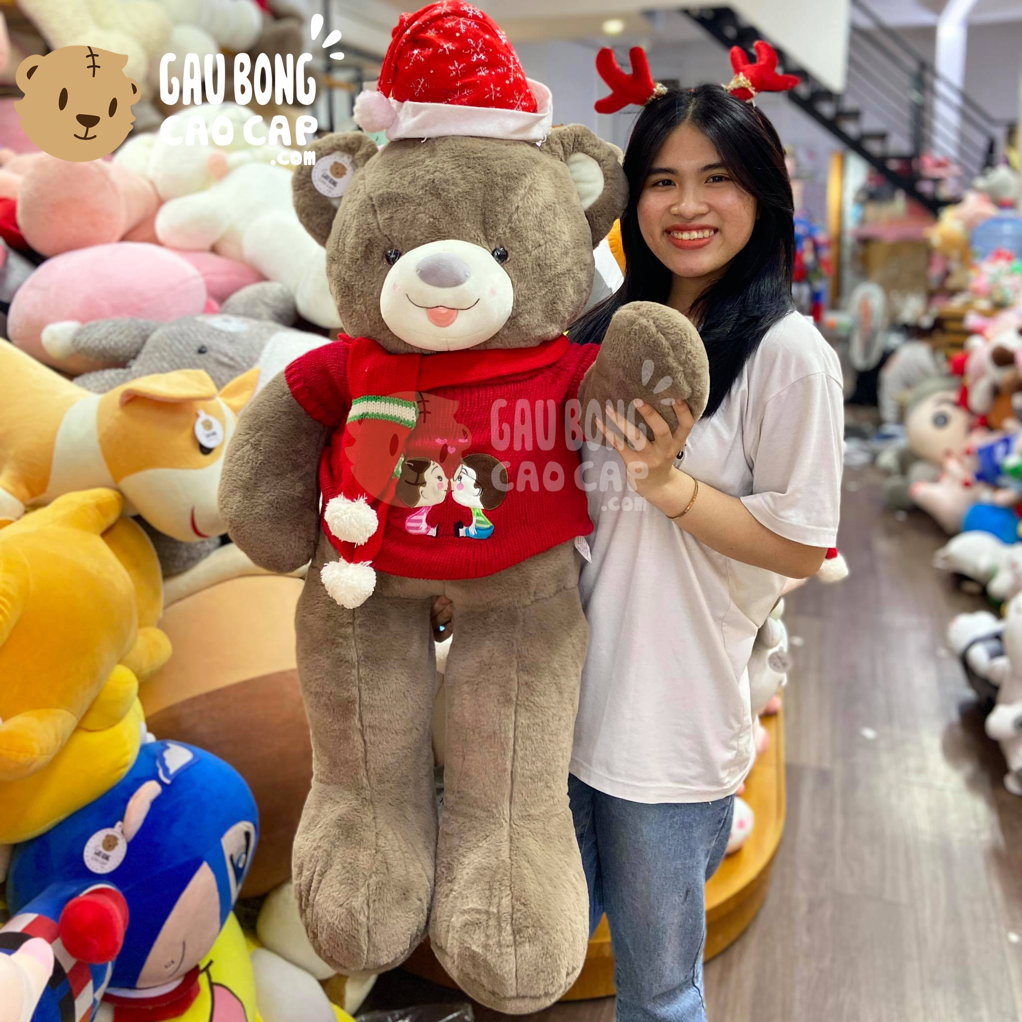 Gấu Teddy Noel lông Smooth áo len Kissing lè lưỡi