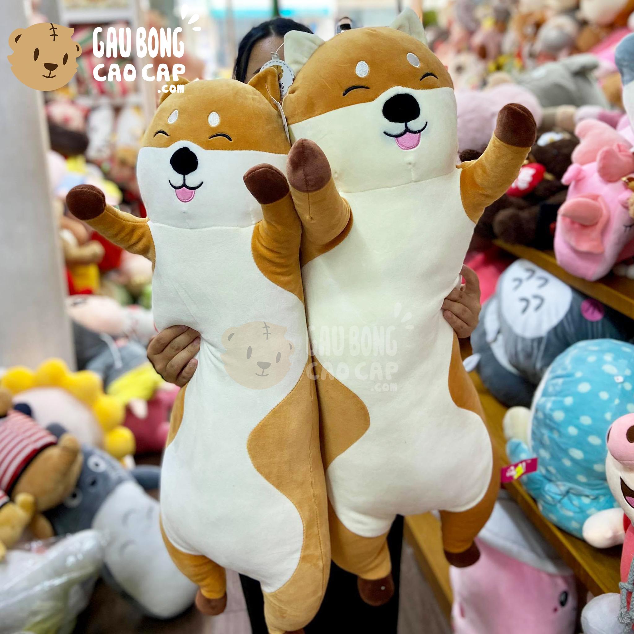Chó bông SHIBA đứng giơ tay gối ôm dài