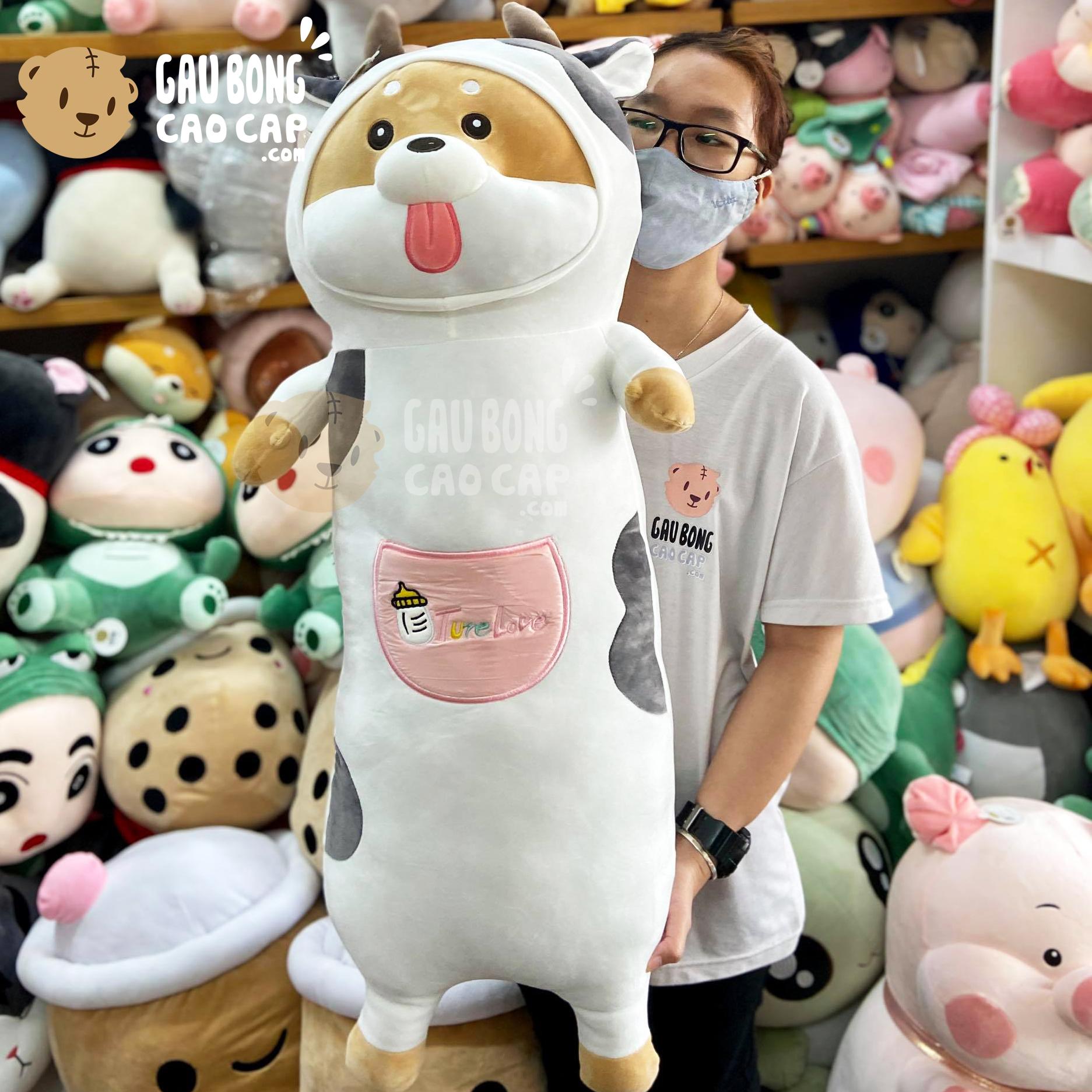 Chó Bông Shiba đứng cosplay gối ôm dài