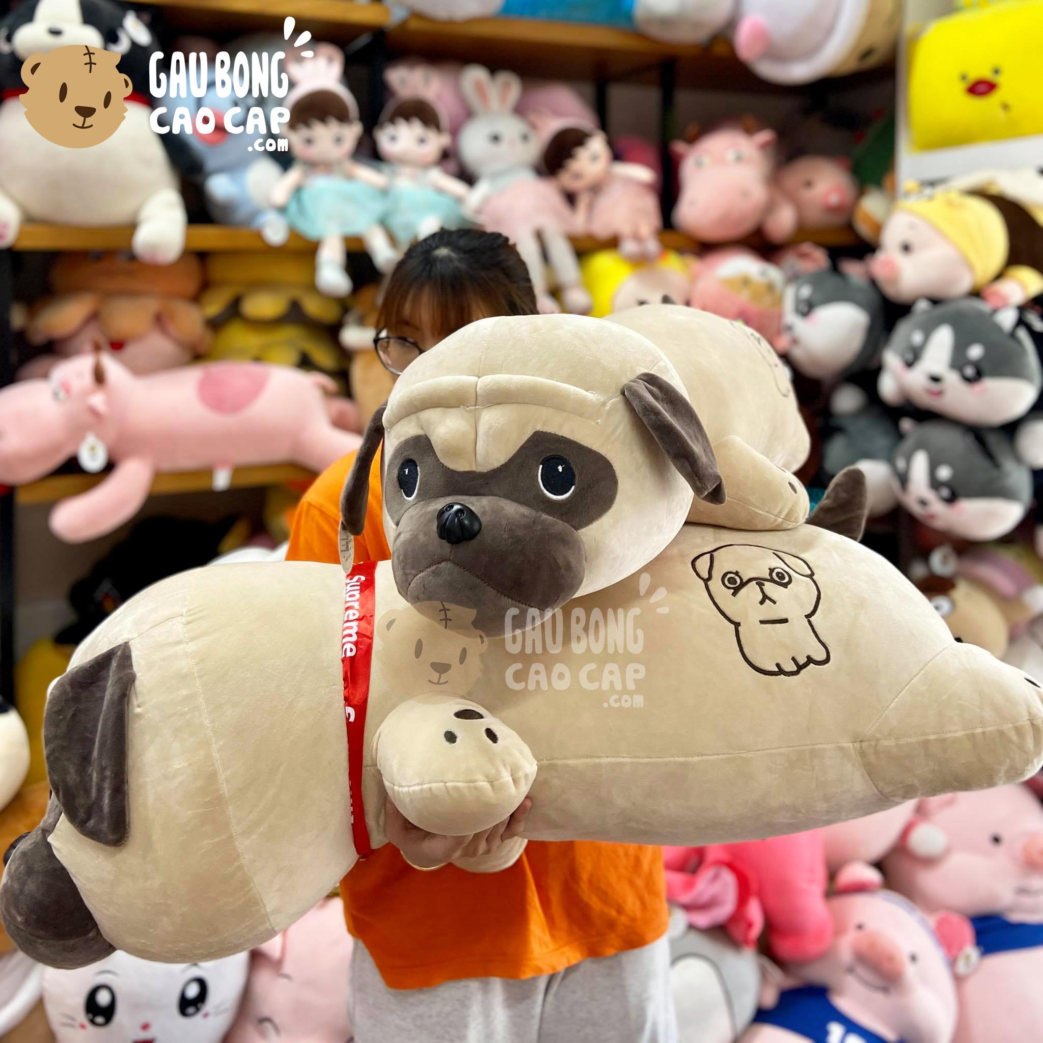 Chó bông mặt xệ nằm lông mịn mông thêu hình Chó