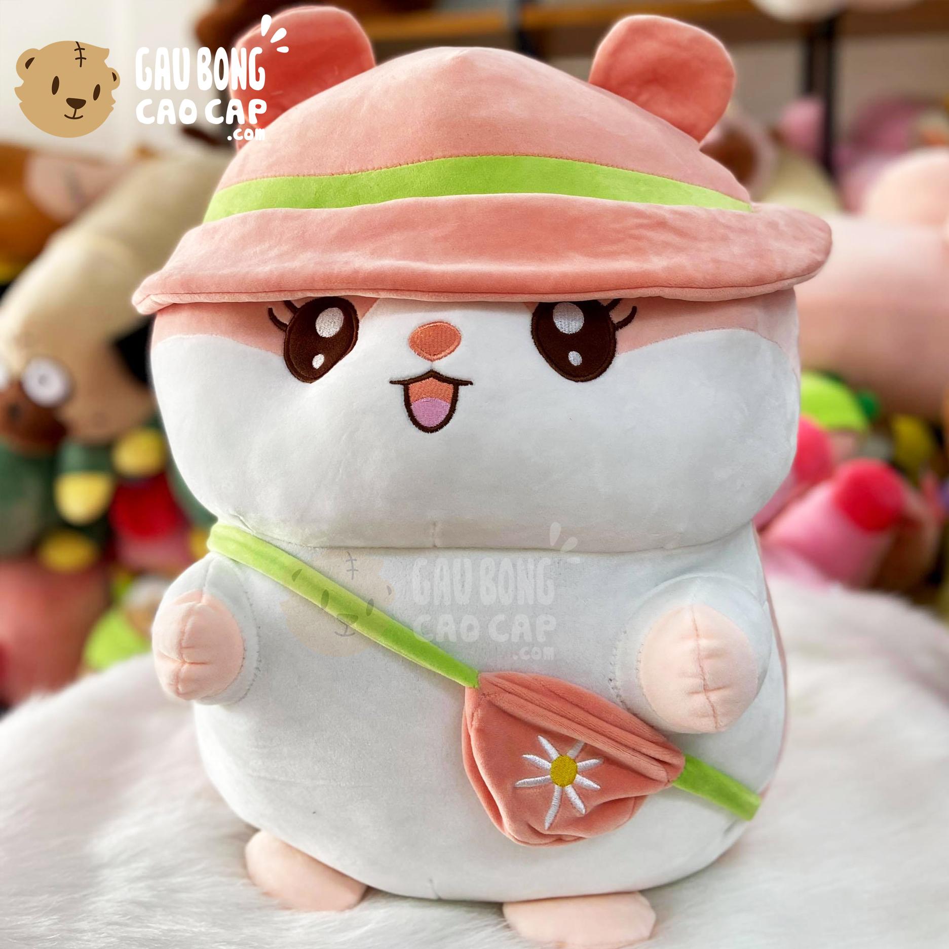 Chuột Bông Hamster Baby Đội Nón Đeo Túi