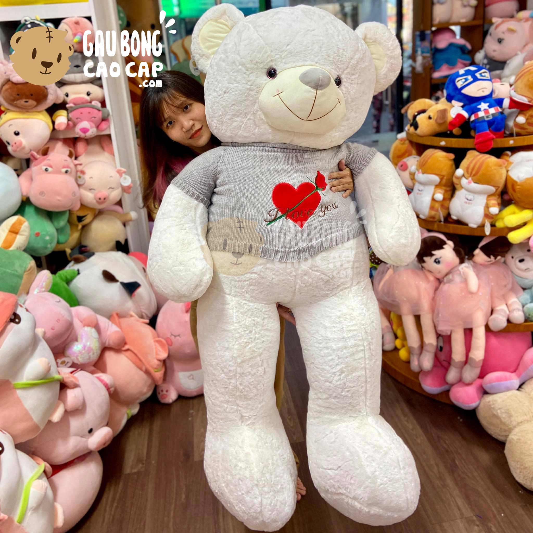 Gấu Teddy Smooth áo len thêu Tim Hoa Hồng I love you