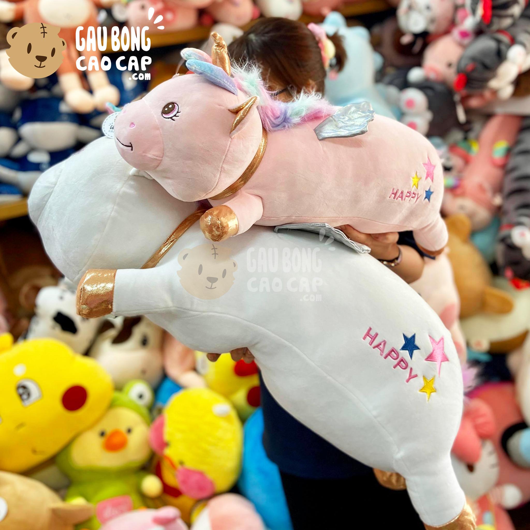 Gấu Bông Unicorn mập Nằm mông Thêu Sao Happy