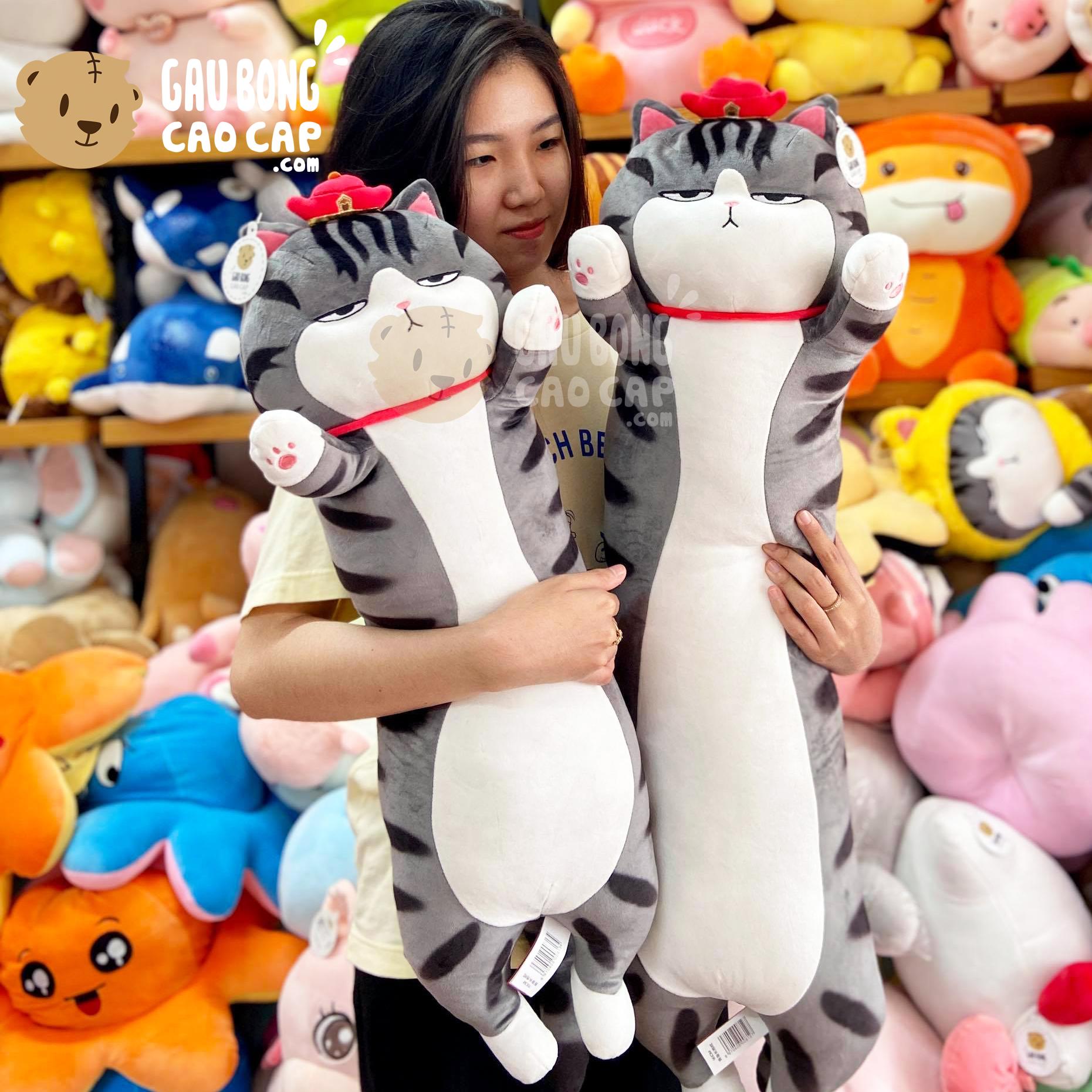 Gối ôm mèo bông Hoàng Thượng đứng giơ tay